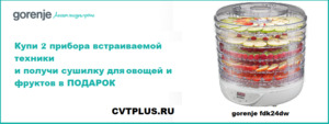 Акция Gorenje - Сушилка для овощей и фруктов в подарок - Центр Встраиваемой Техники